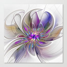 Energetic, Abstract And Colorful Fractal Art Flower Canvas Print
