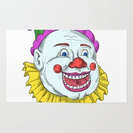 Vintage Circus Clown Smiling Drawing Rug