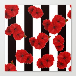 Red poppies on a black and white striped background. Canvas Print