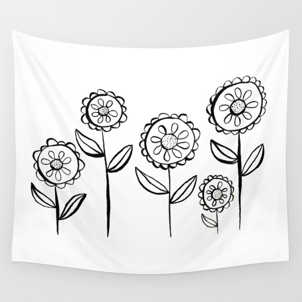 India Ink Black And White Garden Of Flowers Print Wall Tapestry by Emmafreemanart TPS8996150