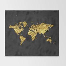 Black Gold Decor, Gold World Map, Office Decor, Bathroom, Glam, Black Wall Art Throw Blanket