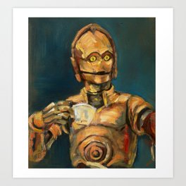 Robot coffee break Art Print