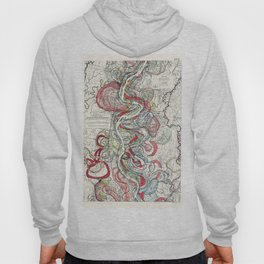 Beautiful Vintage Map of the Mississippi River Hoody