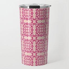 Diamond Bug Pattern Pink Yarrow - Pale Dogwood Travel Mug