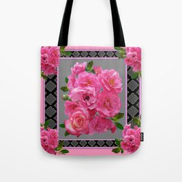 VICTORIAN STYLE CLUSTERED PINK ROSES ART Tote Bag