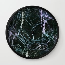 Black Marble With Colored Veins Wall Clock