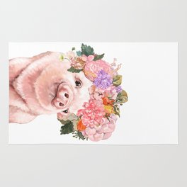 Lovely Baby Pig with Flowers Crown Rug