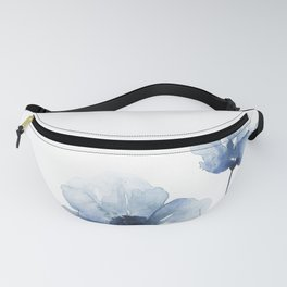 Blue Watercolor Poppies Fanny Pack