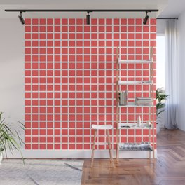 Grid (White & Red Pattern) Wall Mural