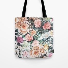Vintage green pink yellow watercolor roses floral Tote Bag