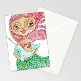 Mermaid and Narwhal Stationery Cards