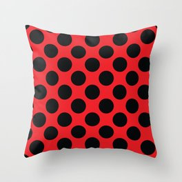 Red with black dots Throw Pillow