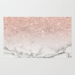 Modern faux rose gold pink glitter ombre white marble Rug