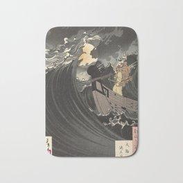 Tsukioka Yoshitoshi - Moon above the sea Bath Mat