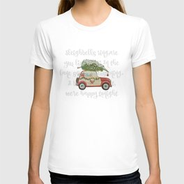 Vintage Christmas car with tree red T-shirt