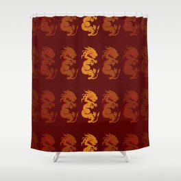 Golden Dragon Pattern Shower Curtain
