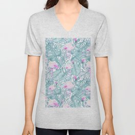 Neon pink green watercolor flamingo tropical leaves Unisex V-Neck