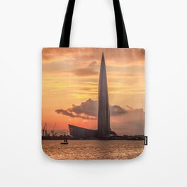 Silhouette Lakhta Center tower at sunset, St. Petersburg, Russia Tote Bag