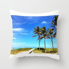 Palm Trees Caribbean Ocean Throw Pillow