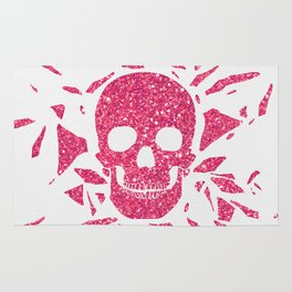 Girly Pink Glitter Abstract Skull Cool Photo Print Rug