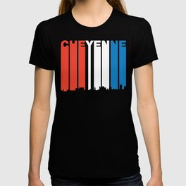 Red White And Blue Cheyenne Wyoming Skyline T-shirt
