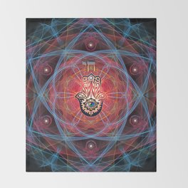 Hamsa - CHAI - Sacred Geometry Throw Blanket