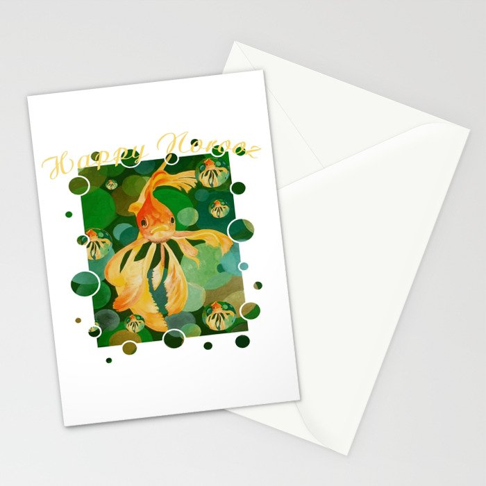 Happy norooz persian new year goldfish in green sea stationery cards happy norooz persian new year goldfish in green sea stationery cards by taiche society6 m4hsunfo