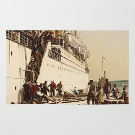 Boarding the Ship - vintage photograph Rug