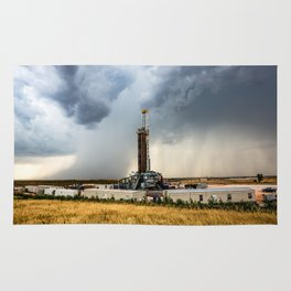 Nevermind the Weather - Oil Rig and Passing Storm in Oklahoma Rug