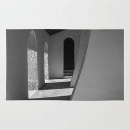 black and white church hallway Rug