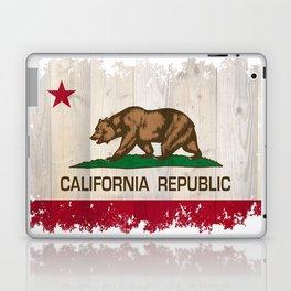 California Republic flag on woodgrain   Laptop & iPad Skin