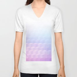 Pastel Cube Pattern Ombre 1 - pink, blue and vi Unisex V-Neck