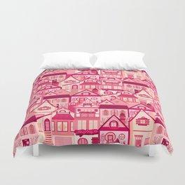 Pink Little Town Duvet Cover