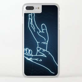 Blue Neon Meanwhile Clear iPhone Case
