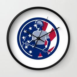 American Coal Miner USA Flag Icon Wall Clock
