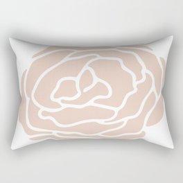 Rose in Vintage Rose Pink on White Rectangular Pillow