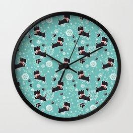 Snowy Scottie Dog Christmas Pattern Wall Clock