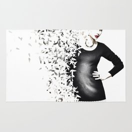 woman in black dress, dissolved in birds Rug