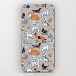 Origami doggie friends // grey linen texture background iPhone Skin