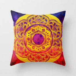 """SACRED GEOMETRY"" WATERCOLOR MANDALA (HAND PAINTED) BY ILSE QUEZADA Throw Pillow"