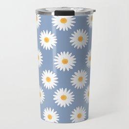 Blue daisy pattern Travel Mug