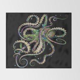 Octopsychedelia (black) Throw Blanket