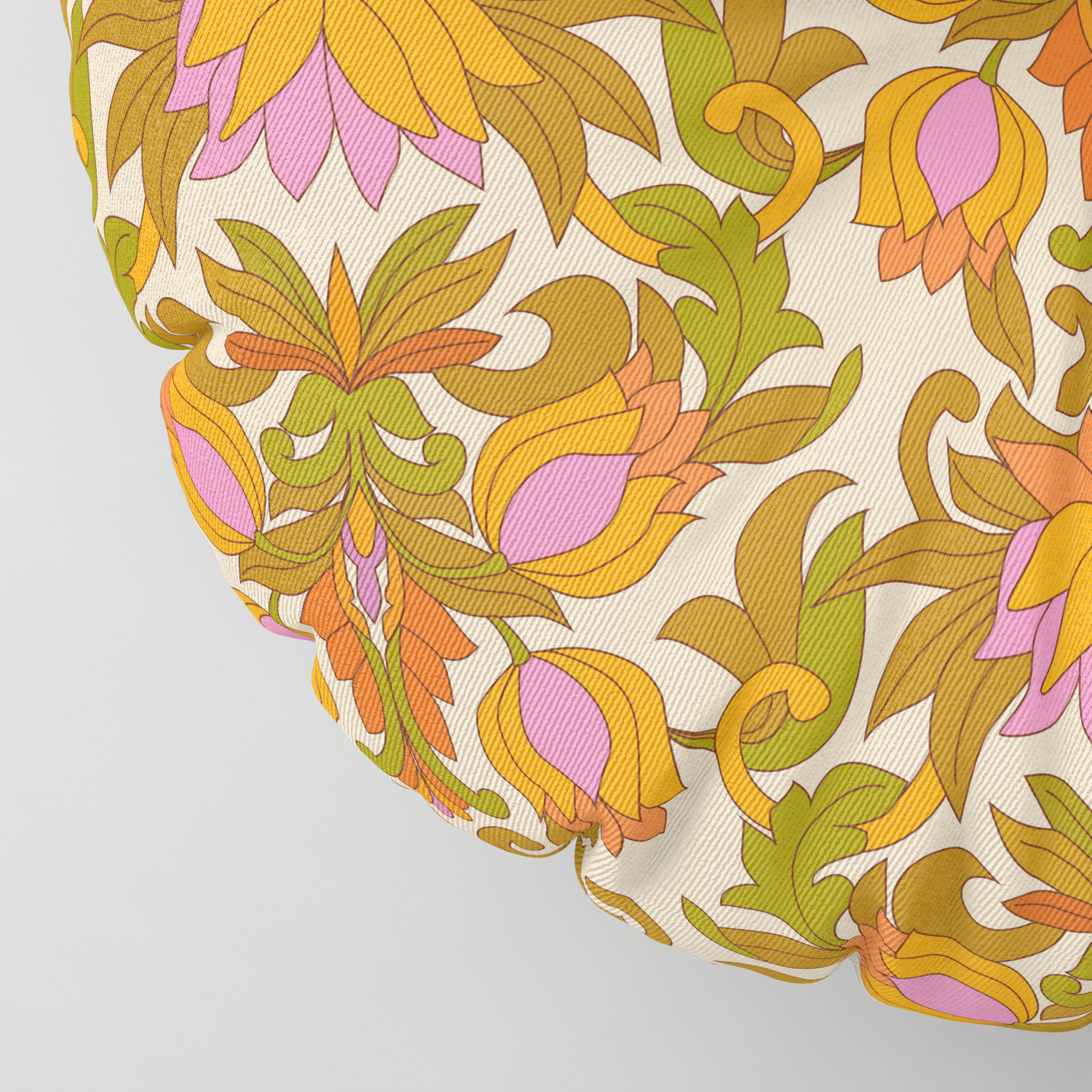 Orange Pink Flowers And Green Leaves 1960s Retro Vintage Pattern