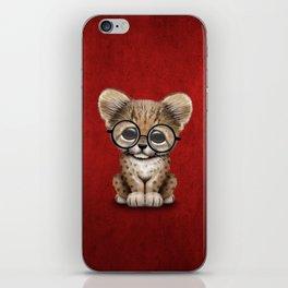 Cute Cheetah Cub Wearing Glasses on Deep Red iPhone Skin