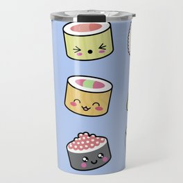 Happy kawaii sushi pattern Travel Mug
