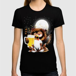 Drunk Owl with Beer Funny Character T-shirt