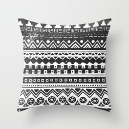 Aztec Inspired Pattern Black and White Throw Pillow
