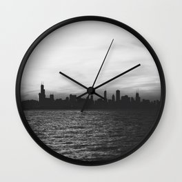 Black and White Chicago Seascape Wall Clock