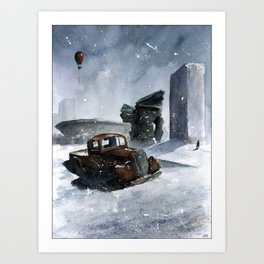 An old truck in snow Art Print
