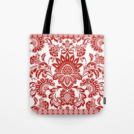 Damask in red Tote Bag